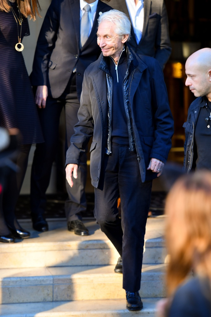 The Rolling Stones members and relatives leaving the Four Seasons hotel to go to the concert hall on October 22, 2017 in Paris, France. 22 Oct 2017 Pictured: Charlie Watts. Photo credit: KCS Presse / MEGA TheMegaAgency.com +1 888 505 6342 (Mega Agency TagID: MEGA103654_010.jpg) [Photo via Mega Agency]