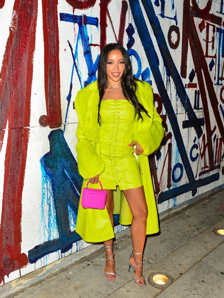 Tinashe, Voyetté, Aniye By, neon, ankle-wrap sandals