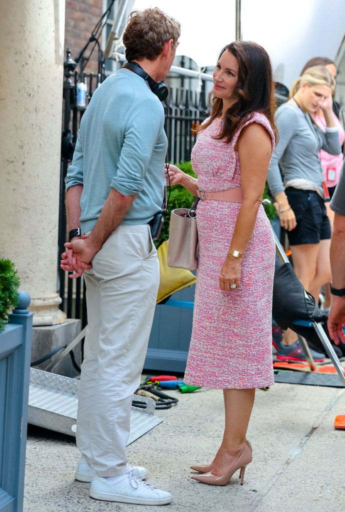Kristin Davis, nude pumps, tweed dress, louis vuitton, top-handle bag, and just like that, nyc