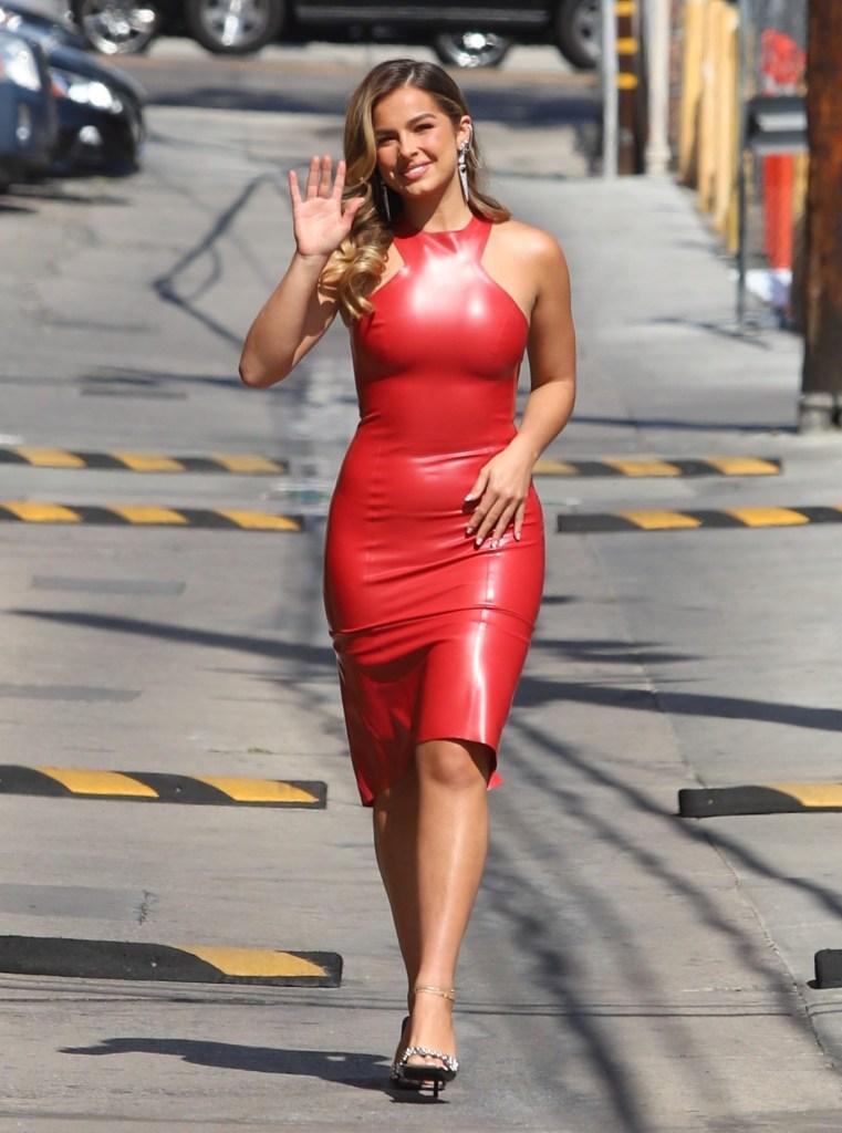 Addison Rae, Saint Laurent, mules, latex dress, Jimmy Kimmel Live