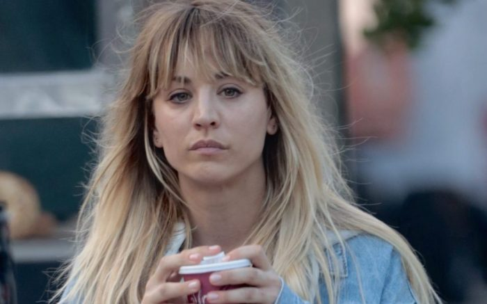 Kaley Cuoco films a scene where she gets hit by a car filming Meet Cute with Pete Davidson.