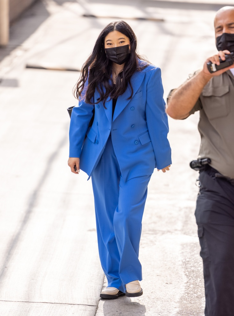 """Awkwafina is seen at """"Jimmy Kimmel Live"""" in Los Angeles, California. 18 Aug 2021 Pictured: Awkwafina. Photo credit: RB/Bauergriffin.com / MEGA TheMegaAgency.com +1 888 505 6342 (Mega Agency TagID: MEGA779657_010.jpg) [Photo via Mega Agency]"""