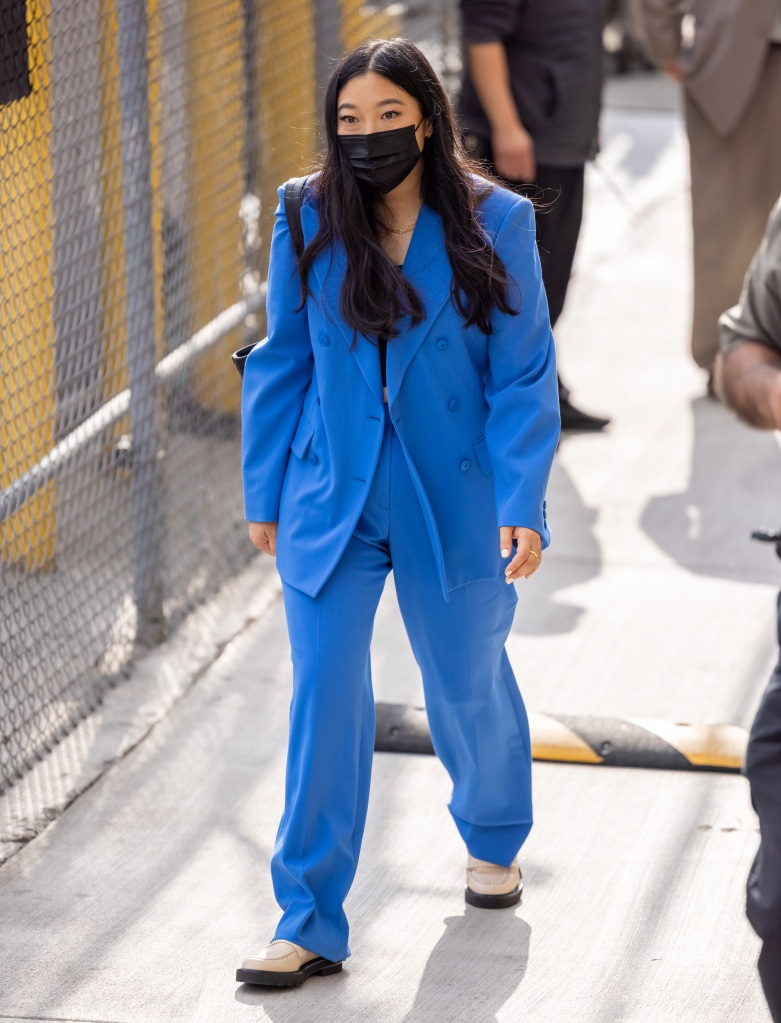 """Awkwafina is seen at """"Jimmy Kimmel Live"""" in Los Angeles, California. 18 Aug 2021 Pictured: Awkwafina. Photo credit: RB/Bauergriffin.com / MEGA TheMegaAgency.com +1 888 505 6342 (Mega Agency TagID: MEGA779657_015.jpg) [Photo via Mega Agency]"""
