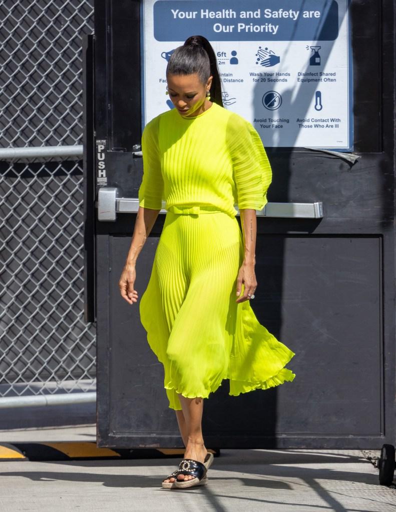 Thandie Newton, Chanel, Jimmy Kimmel Live!, neon dress, black slides