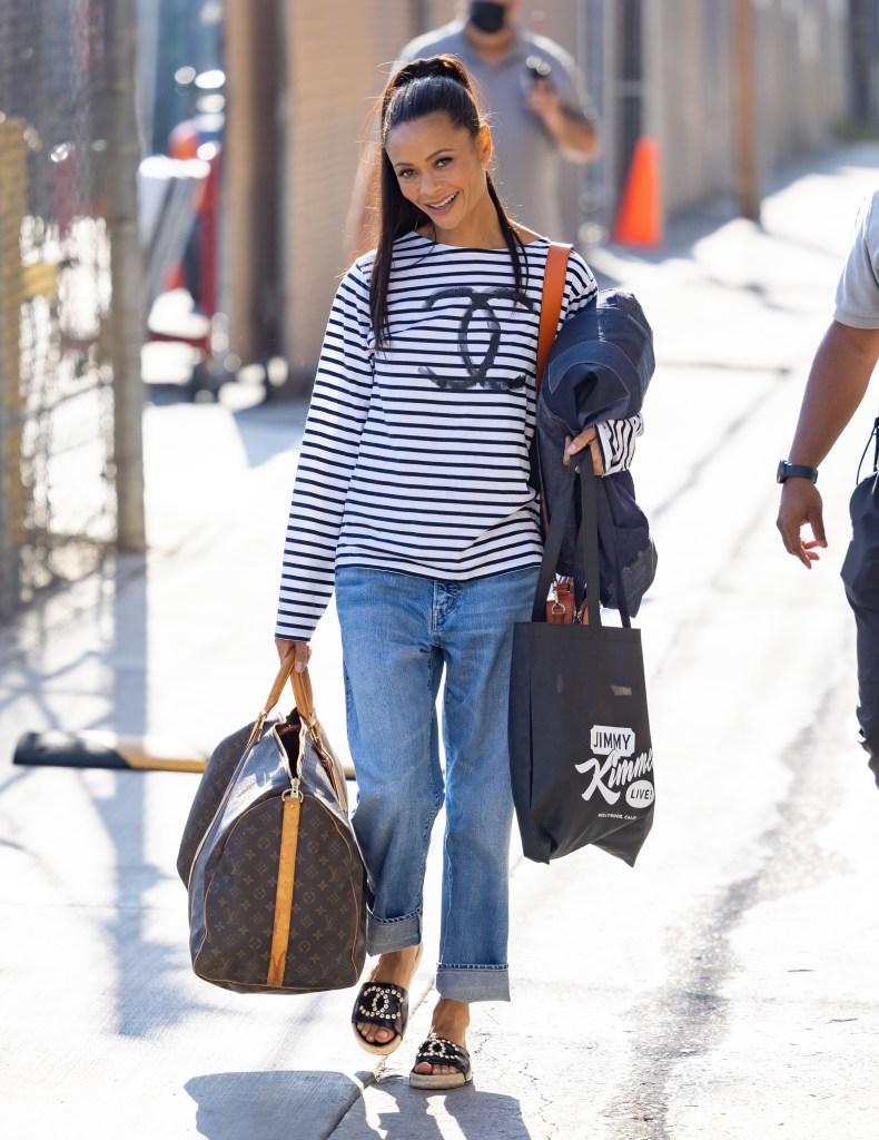 Thandie Newton, Chanel, Louis Vuitton, Jimmy Kimmel Live!, striped shirt, mom jeans