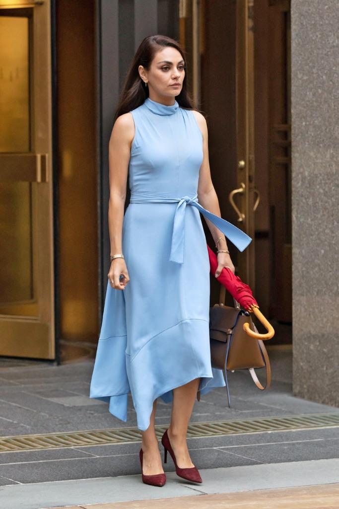 Mila Kunis, NYC, blue dress, heels, adidas slides