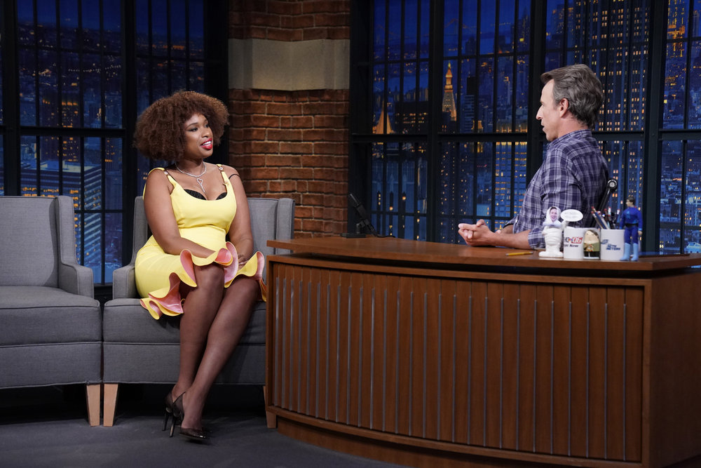LATE NIGHT WITH SETH MEYERS -- Episode 1180A -- Pictured: (l-r) Actress/singer Jennifer Hudson during an interview with host Seth Meyers on August 17, 2021 -- (Photo by: Lloyd Bishop/NBC)