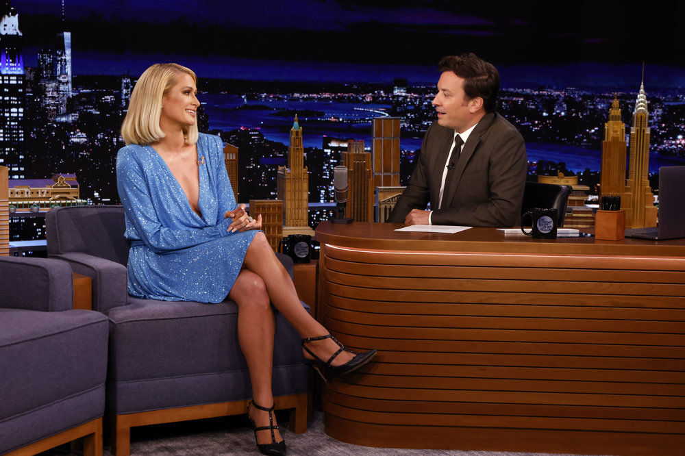 THE TONIGHT SHOW STARRING JIMMY FALLON -- Episode 1502 -- Pictured: (l-r) Media personality Paris Hilton during an interview with host Jimmy Fallon on Tuesday, August 17, 2021 -- (Photo by: Alex Hooks/NBC)