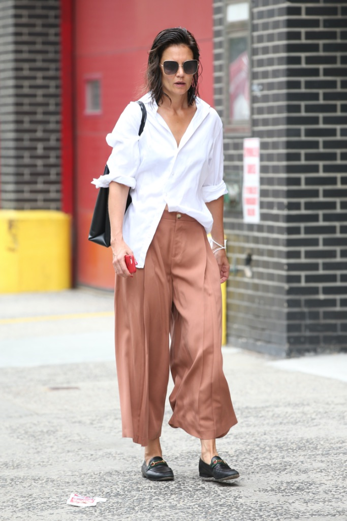 Katie Holmes, trousers, loafers, nyc