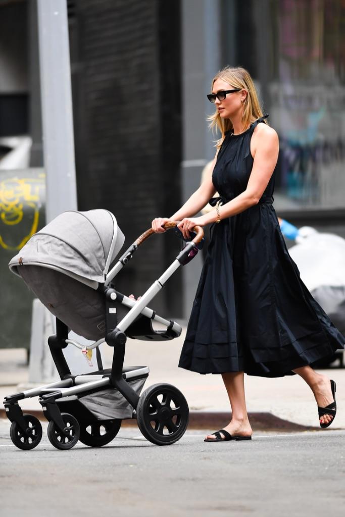 Karlie Kloss, black dress, sandals, nyc