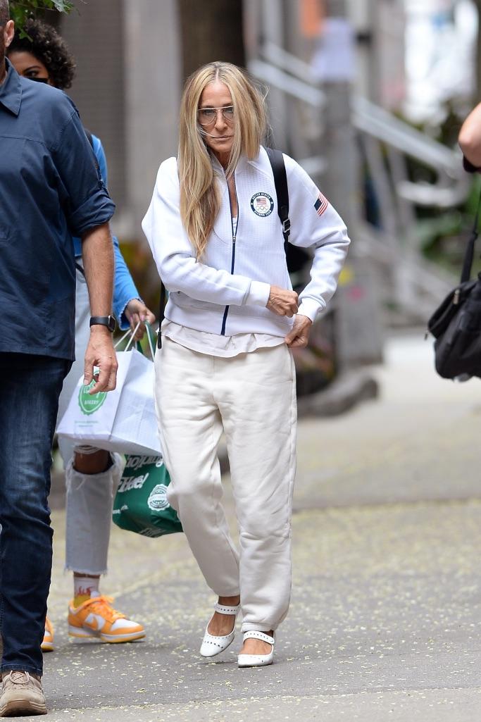 sarah jessica parker, olympic jacket, sjp shoes