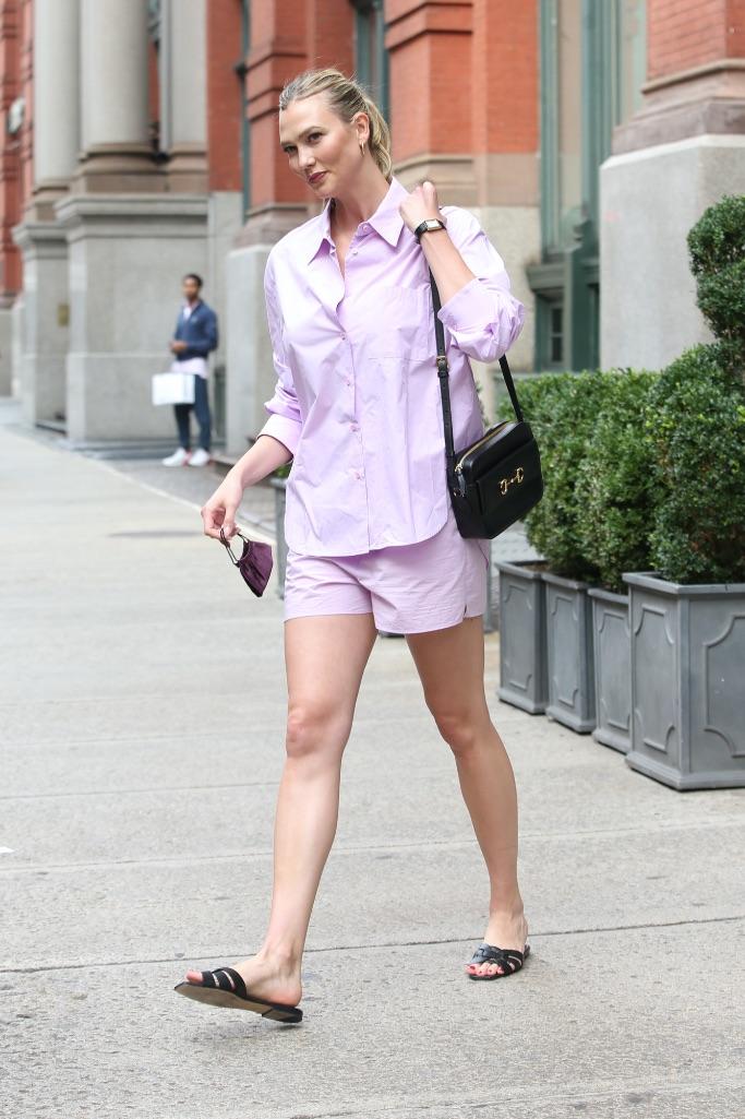 Karlie Kloss, purple set, black sandals, Saint Laurent, nyc