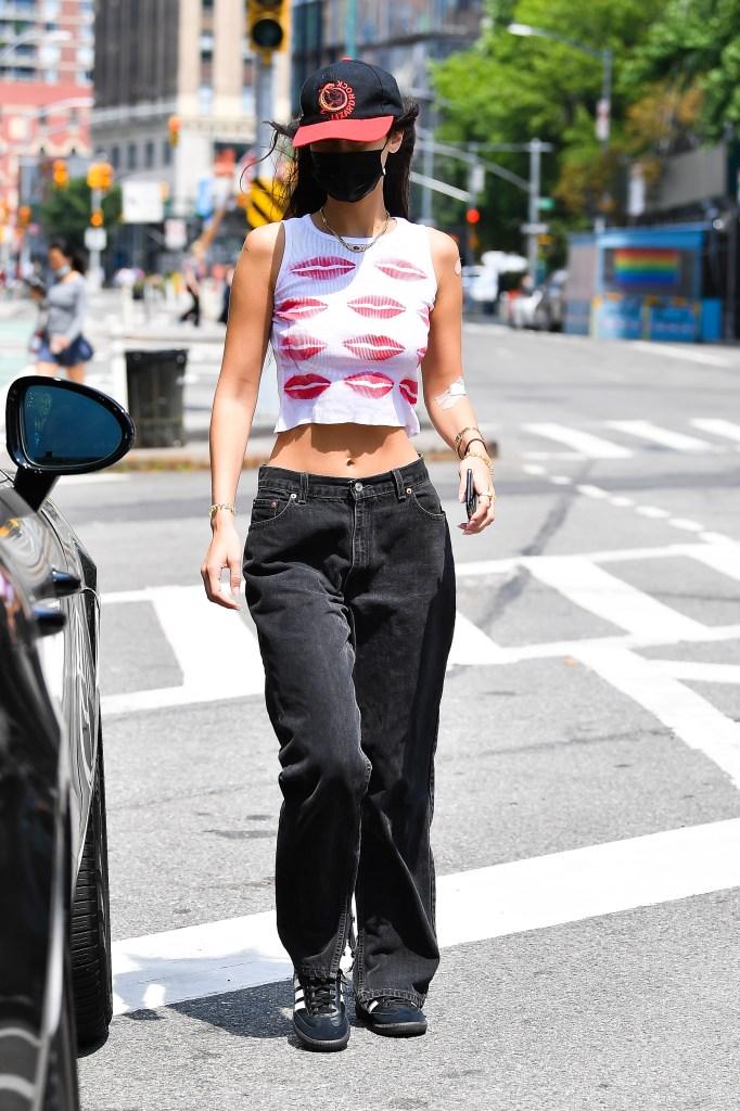 Bella Hadid, Adidas, crop top, black sneakers, nyc