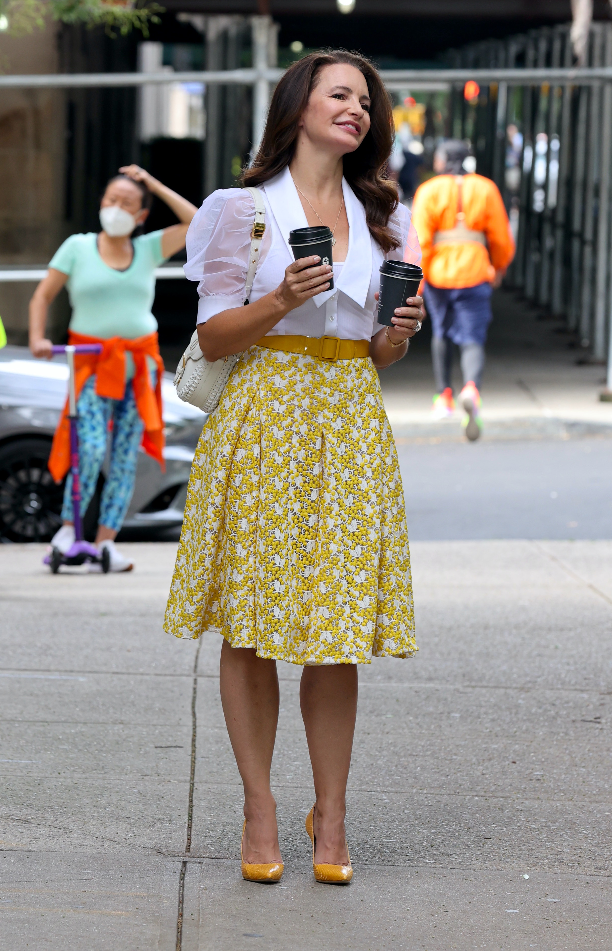 """Kristin Davis is all smiles filming a scene with Nicole Ari Parker at the """"And Just Like That"""" set in Fifth Avenue , Manhattan.Pictured: Kristin Davis and Nicole Ari Parker Ref: SPL5250221 310821 NON-EXCLUSIVE Picture by: Jose Perez / SplashNews.com Splash News and Pictures USA: +1 310-525-5808 London: +44 (0)20 8126 1009 Berlin: +49 175 3764 166 photodesk@splashnews.com World Rights"""