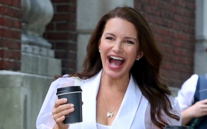 """Kristin Davis Is All Smiles With Nicole Ari Parker At The """"And Just Like That"""" Set In NYC"""