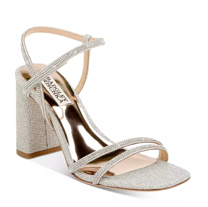 Badgley Mischka Women's Rebekah Square Toe Crystal Embellished Block Heel Sandals