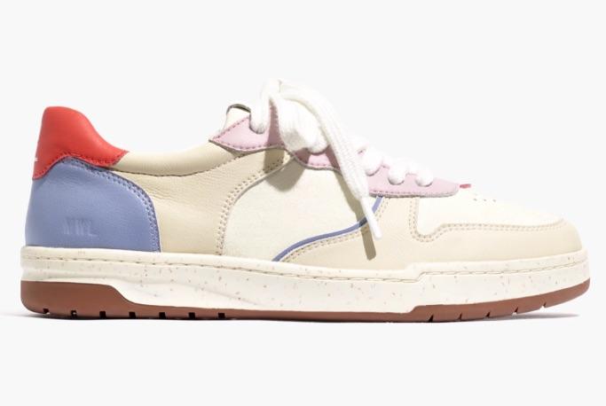 Madewell Court Sneakers, red heel tab