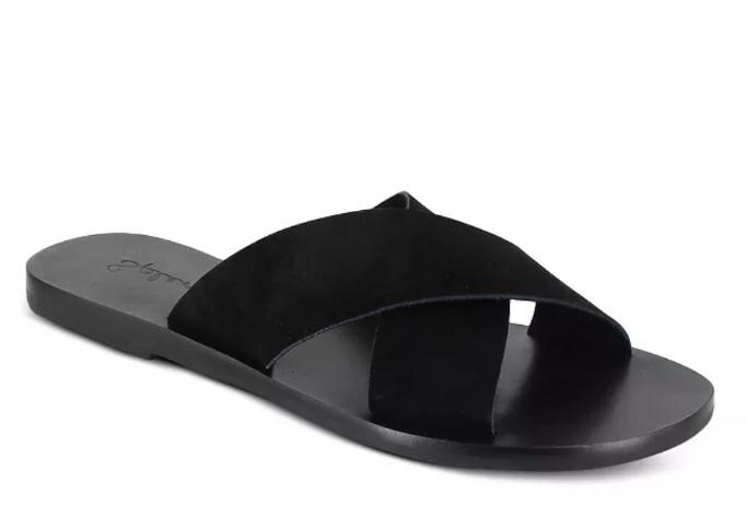 Splendid Women's Tava Crossover Strap Leather Slide Sandals