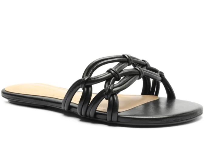 Schutz black woven flat sandal