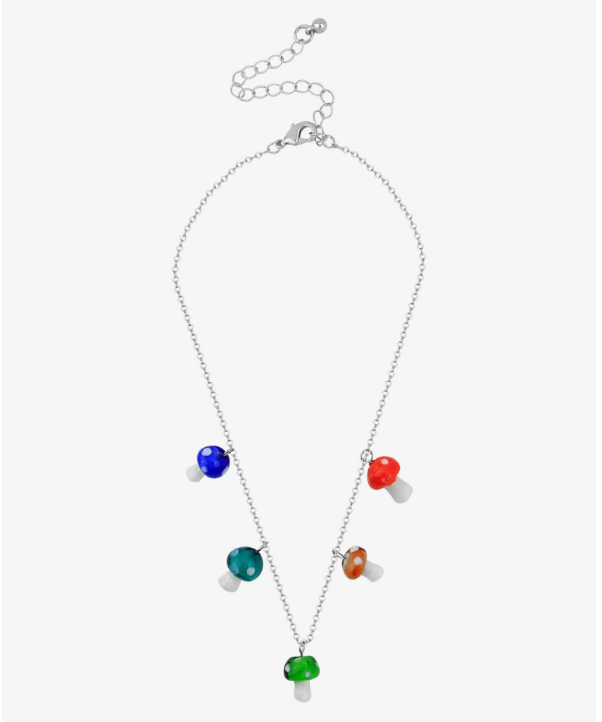 mushroom necklace, charms