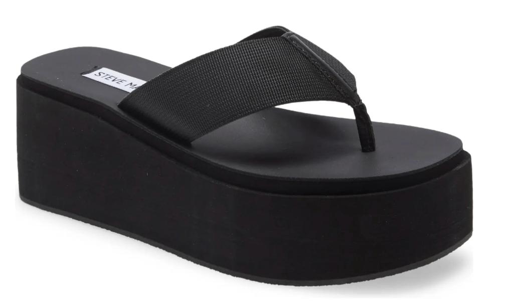black thong sandals, platform, flip flops, steve madden