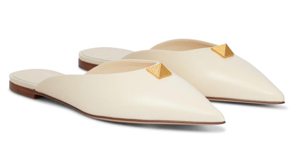 Valentino, white mules