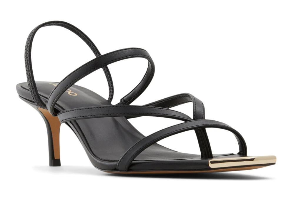 black sandals, thin strap, heels, square toe, aldo