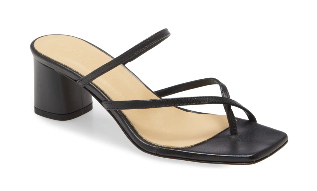 black sandals, thin strap, heels, square toe, aeyde