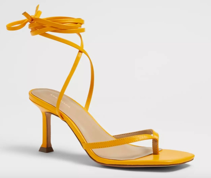 Ann Taylor Gianna Leather Thong Wrap Heeled Sandals