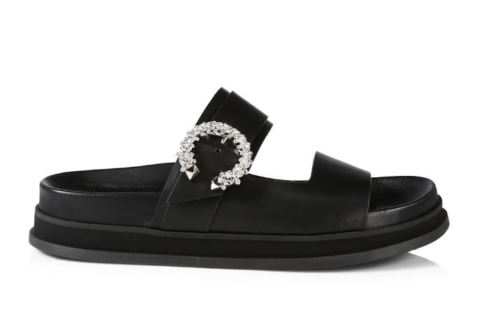 Jimmy Choo Marga Crystal-Embellished Leather Slides