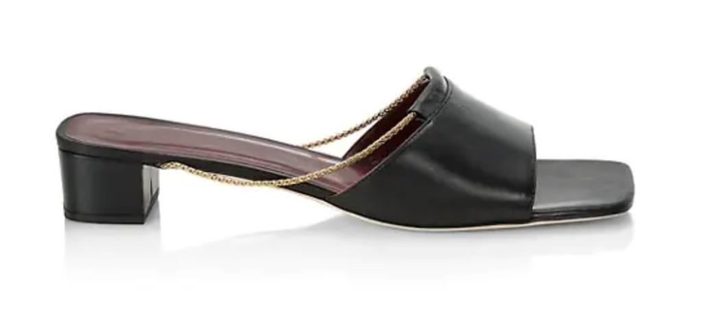 staud, black sandals, mules