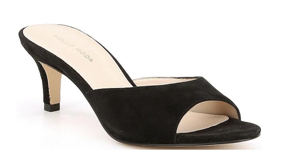 black mules, heels, peep toe, pelle moda