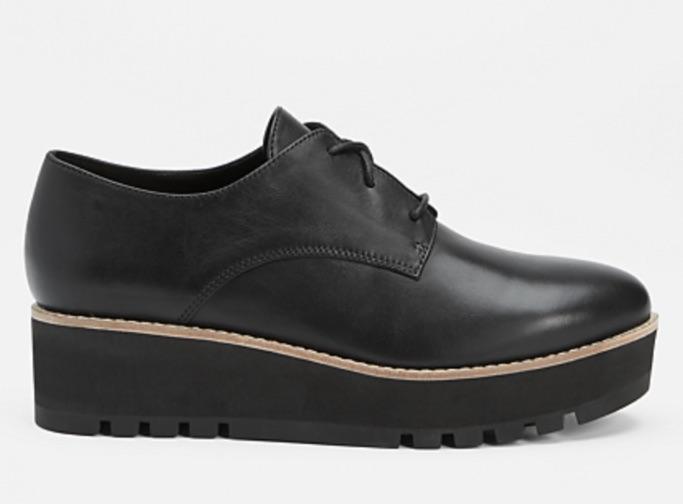 Eileen Fisher eddy smooth leather platform oxford