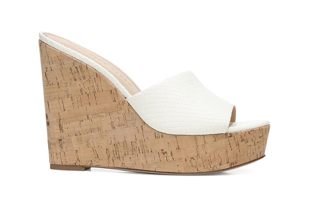 Veronica Beard Dali Python-Embossed Leather & Cork Platform Wedge Mules