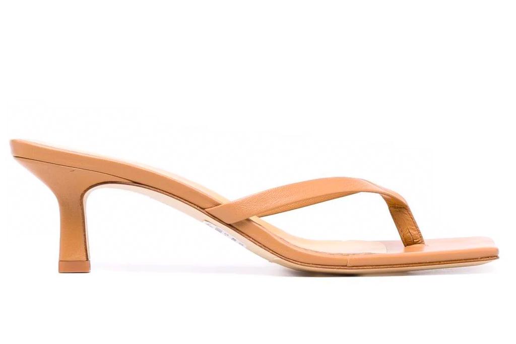 thong sandal, tan, heel, aeyde