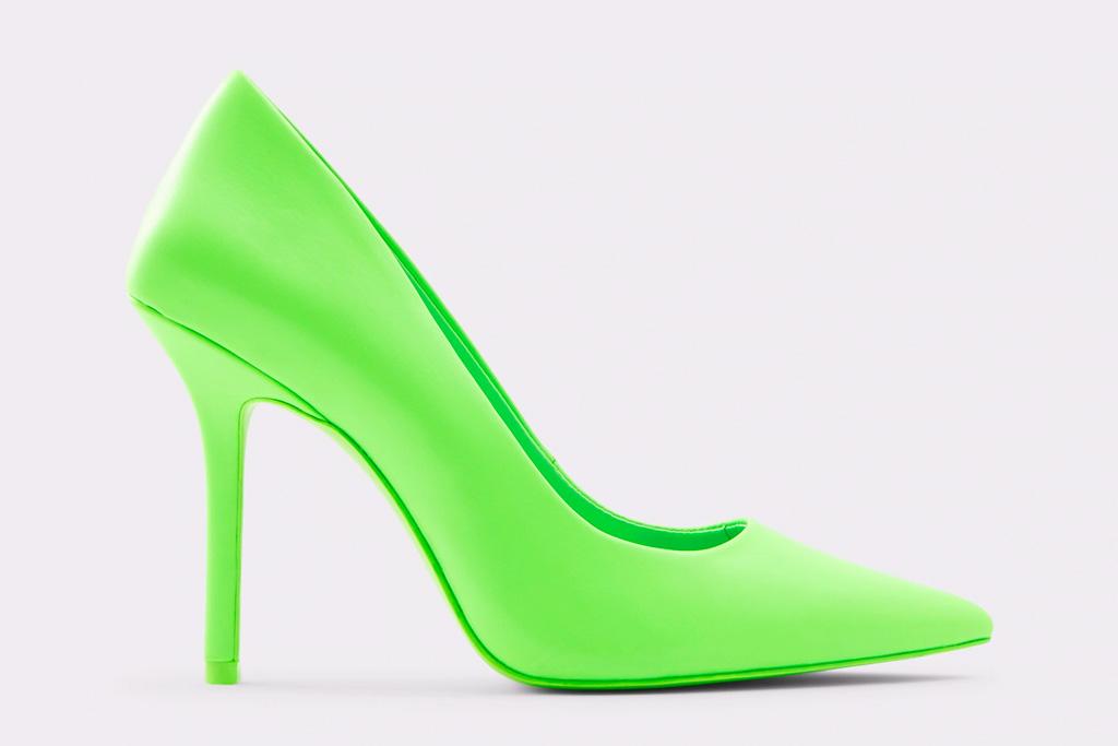 neon heels, pumps, green, yellow, aldo