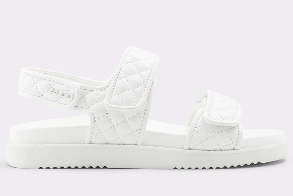 white slides, ugly sandals, aldo