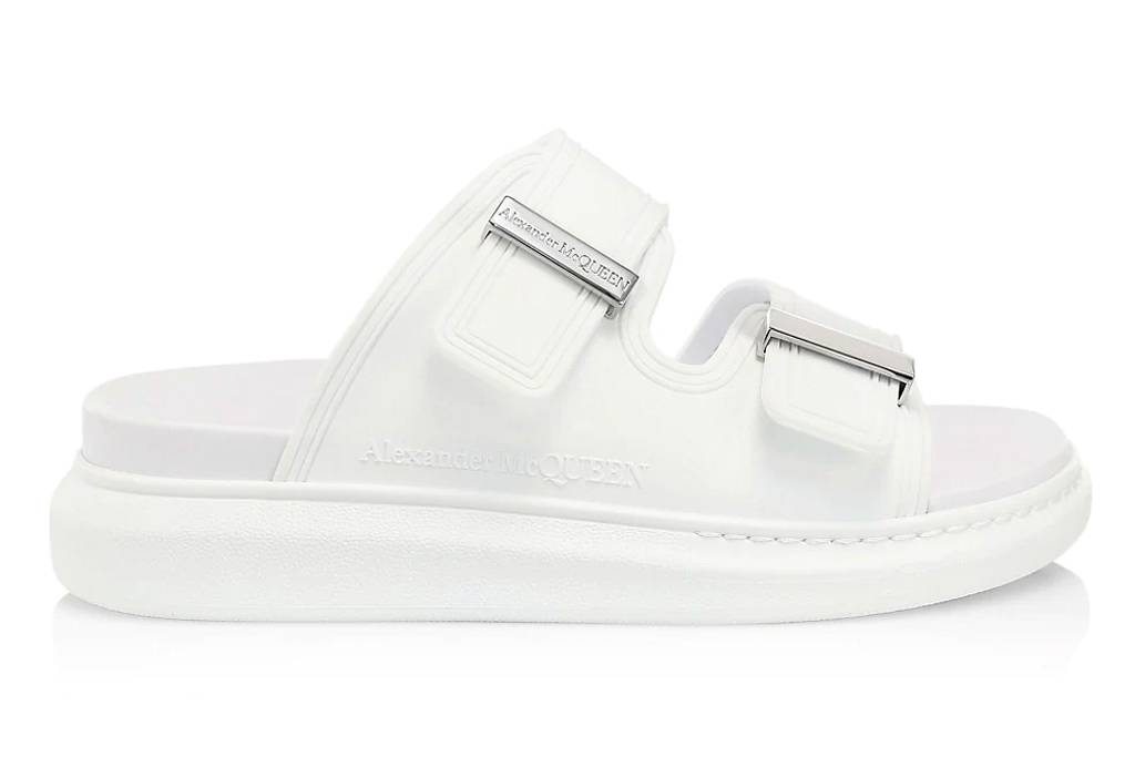 white slides, ugly sandals, alexander mcqueen