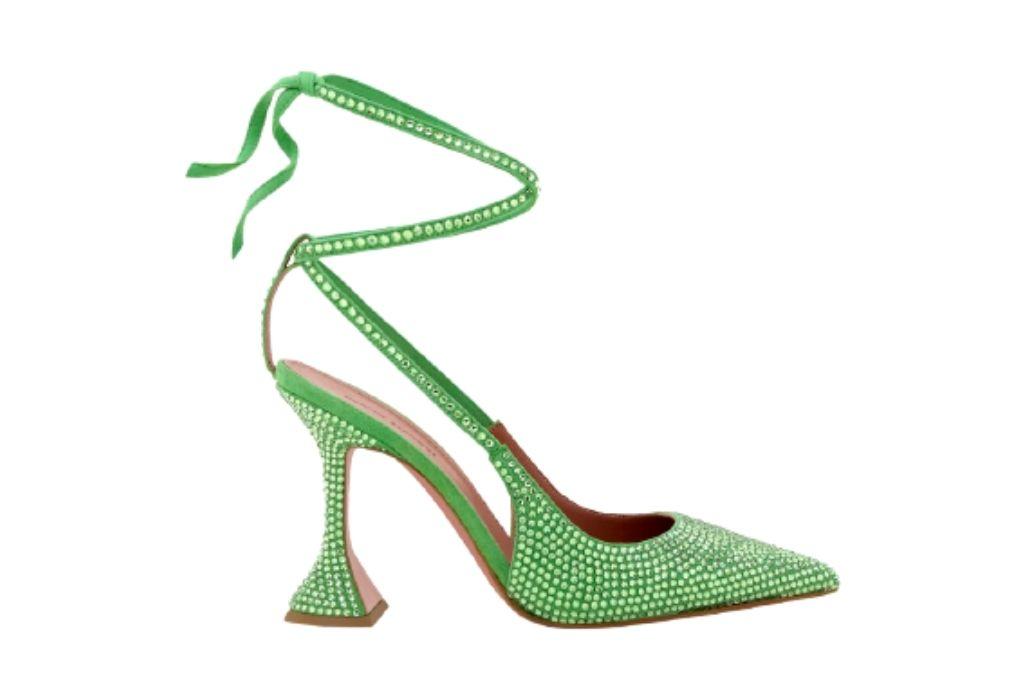 Amina Muaddi green pumps