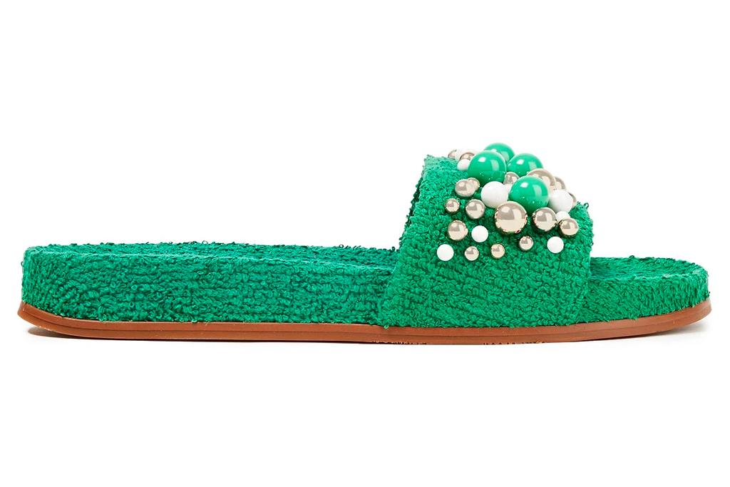 green slides, sandals, terry cloth, aquazzura