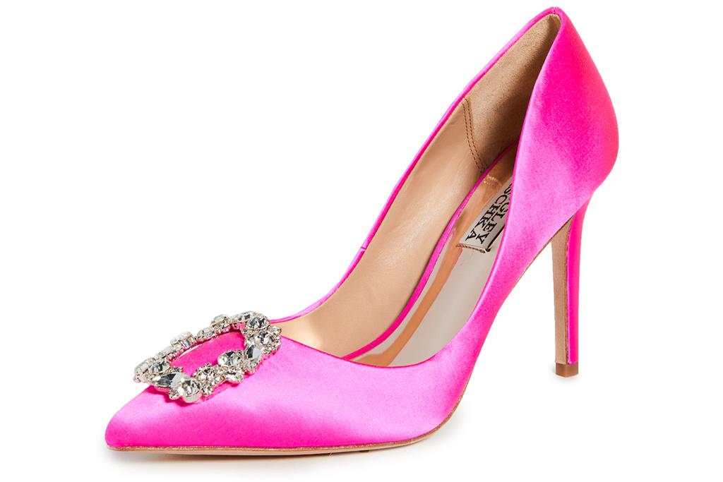 pink heels, pumps, pointed-toe heels, hot pink, badgley mischka