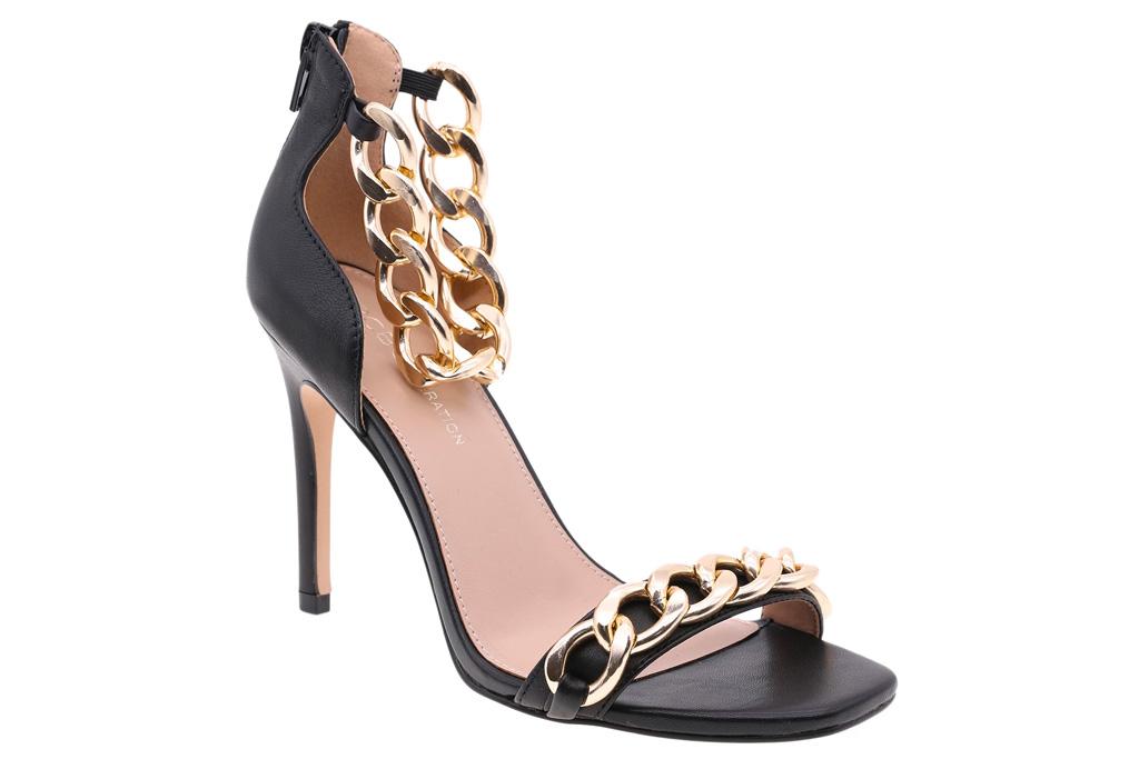 black heels, chain link, gold, bcbg