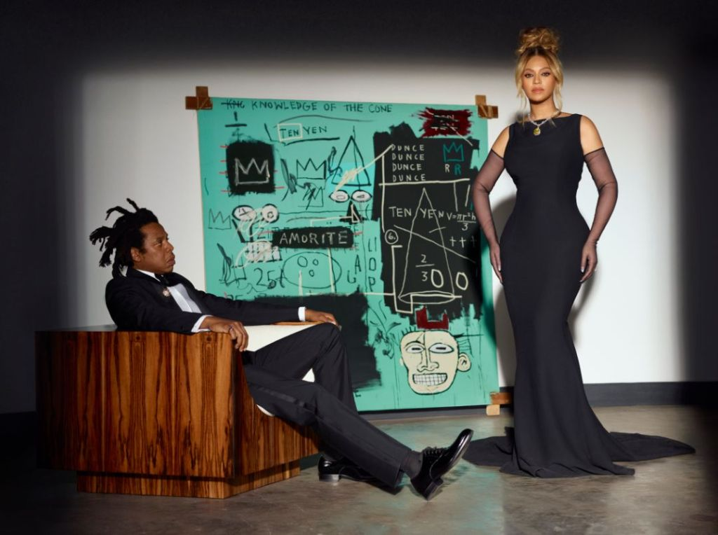 beyoncé, backless gown, dress, sheer gloves, heels, tiffany and co, necklace, jay-z, suit