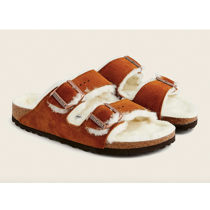 Birkenstock Arizona shearling sandals, fall shoes 2021