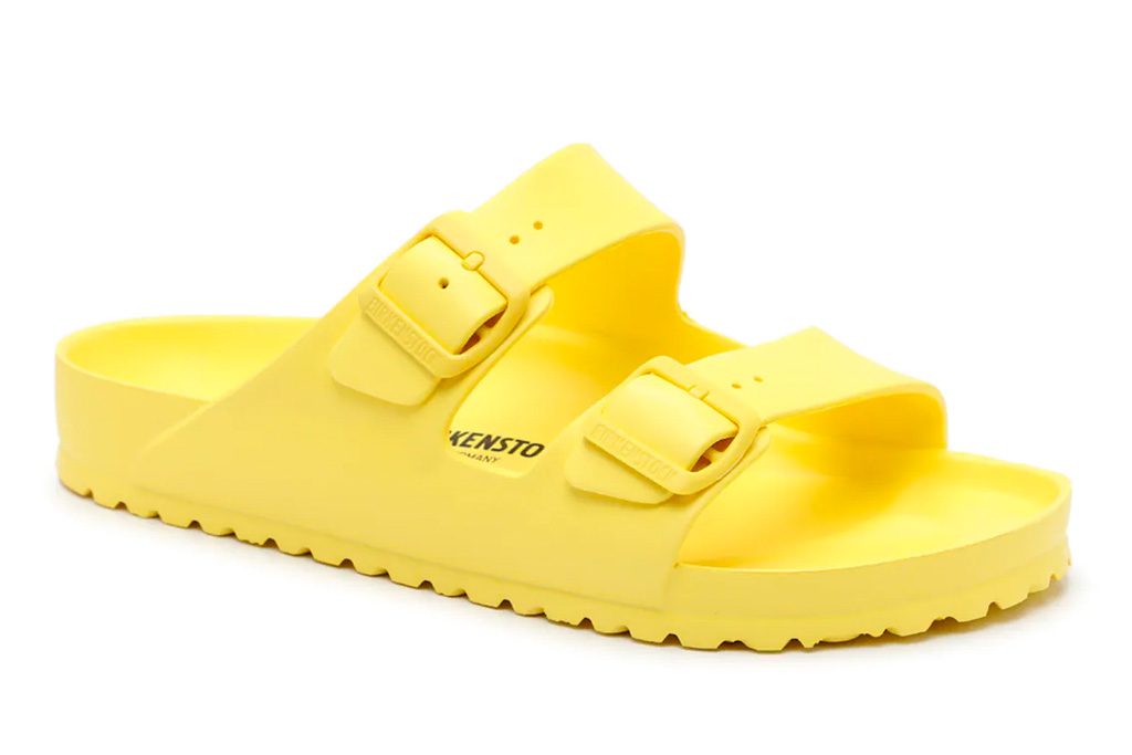 neon heels, yellow, sandals, birkenstock
