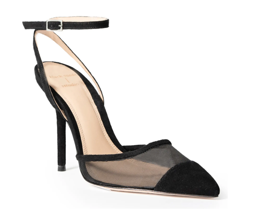 black heels, mesh pumps, black suede studio
