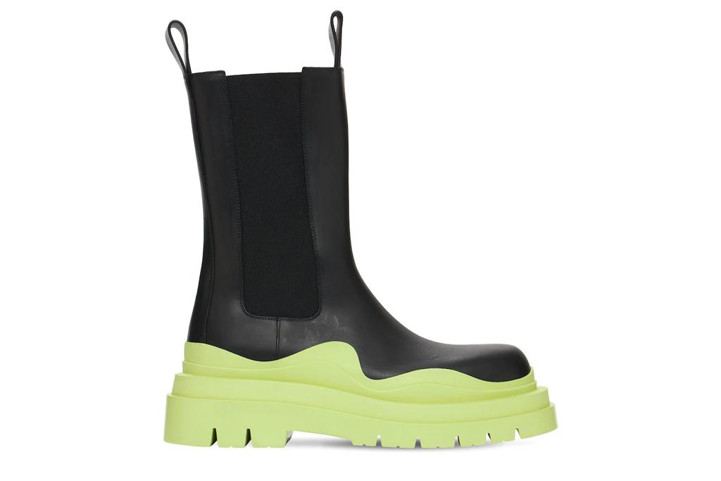 black boots, green outsole, bottega veneta, tire