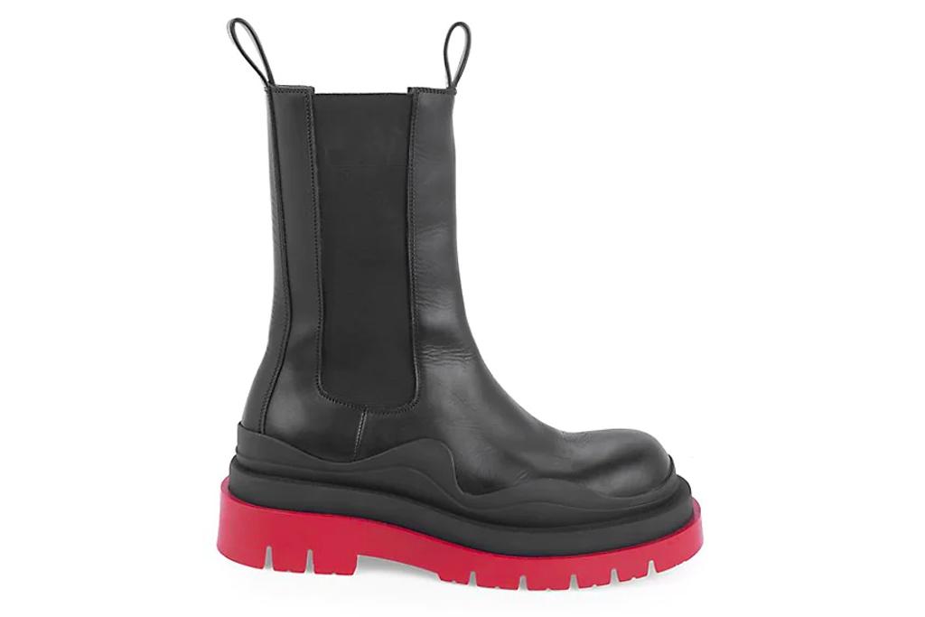 bottega veneta, tire boots, black red