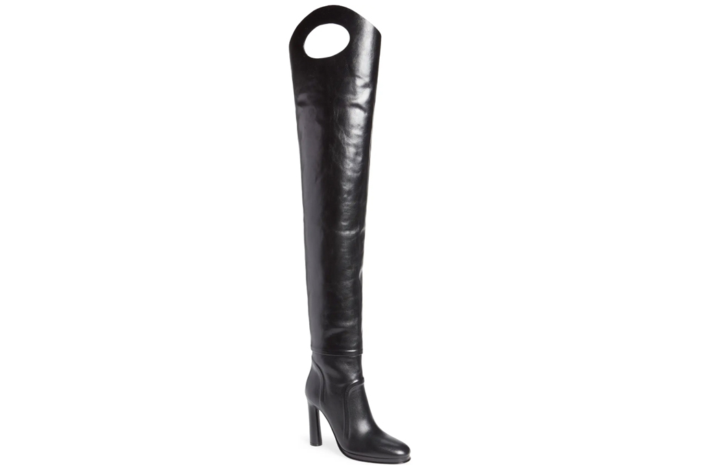 burberry, thigh-high boots, leather