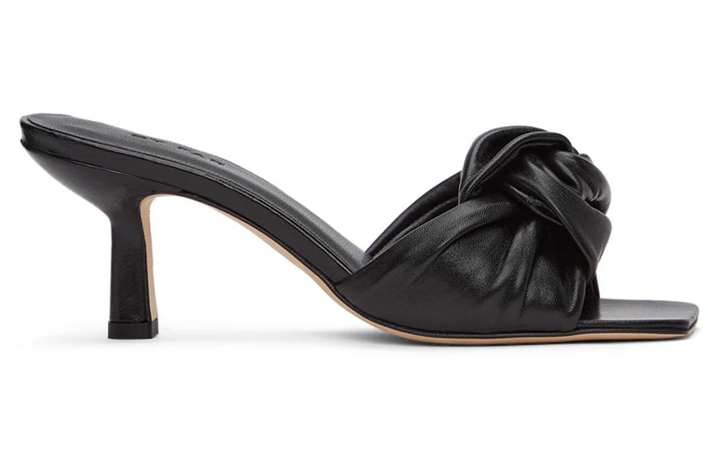 black mules, heels, peep toe, by far